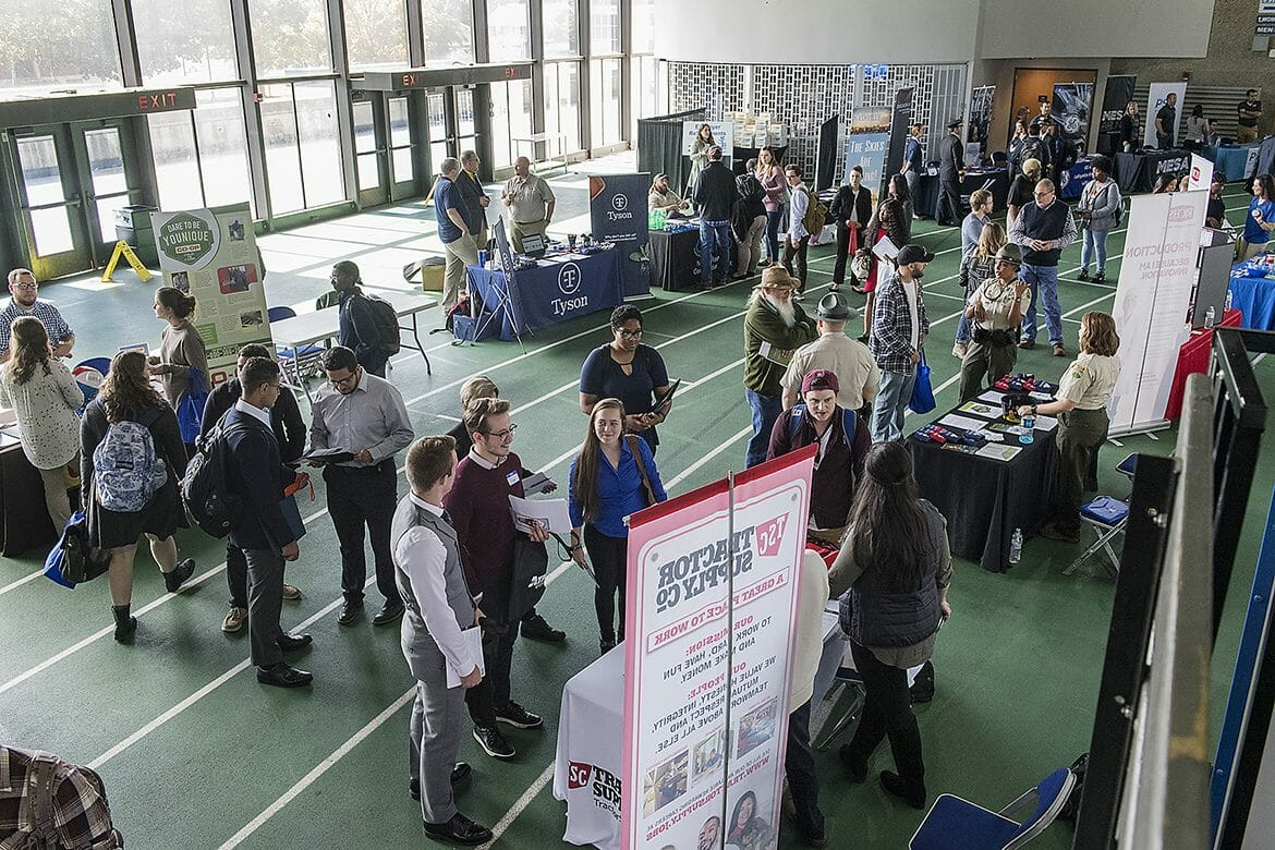 MTSU students and alumni make the rounds to visit more than 150 employers and graduate/professional schools on hand during the 2018 Fall Career Fair held Wednesday, Oct. 24, at Murphy Center. (MTSU photo by Andy Heidt)