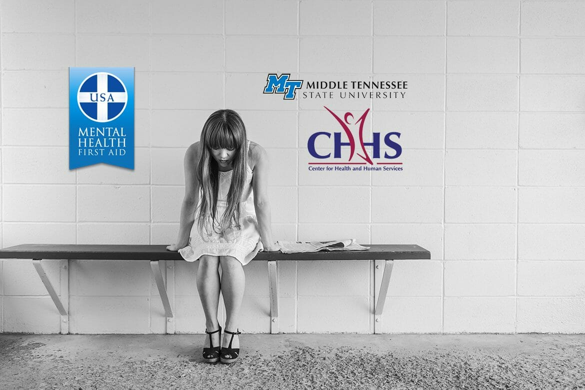 young woman sitting on a bench looking worried with the Mental Health First Aid, MTSU and CHHS logos on the wall behind her (Pixabay photos for photo illustration)