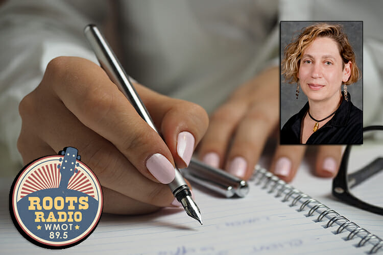 graphic showing a woman's hands writing with a fountain pen in a spiral notebook, overlaid with a photo of English professor Claudia Barnett and the WMOT logo