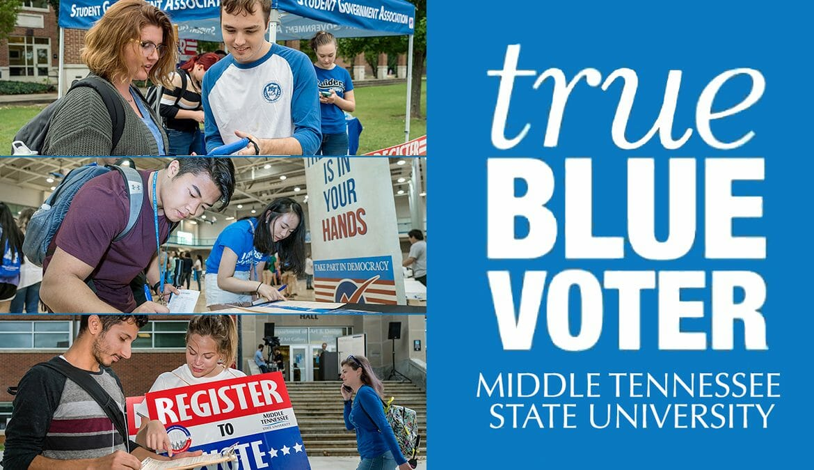 "file photos of students registering to vote campuswide plus ""True Blue Voter"" graphic"