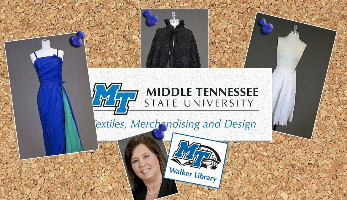 graphic for Historic Fashions Collection with photos of pieces from the collection and TXMD and Walker Library logos, plus photo of Dr. Teresa King
