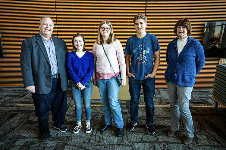 MTSU College of Basic and Applied Sciences Dean Bud Fischer, left, and Department of Chemistry professor Norma Dunlap, right, pose for a photo with the top three winners from the recent Chemistry Scholarship Tournament: first-place winner Faith Viers, second from left, and runner-up Callie Hall of Central Magnet School in Murfreesboro, and third-place Daniel Bergman of Mt. Juliet High School. (MTSU photo by Eric Sutton)