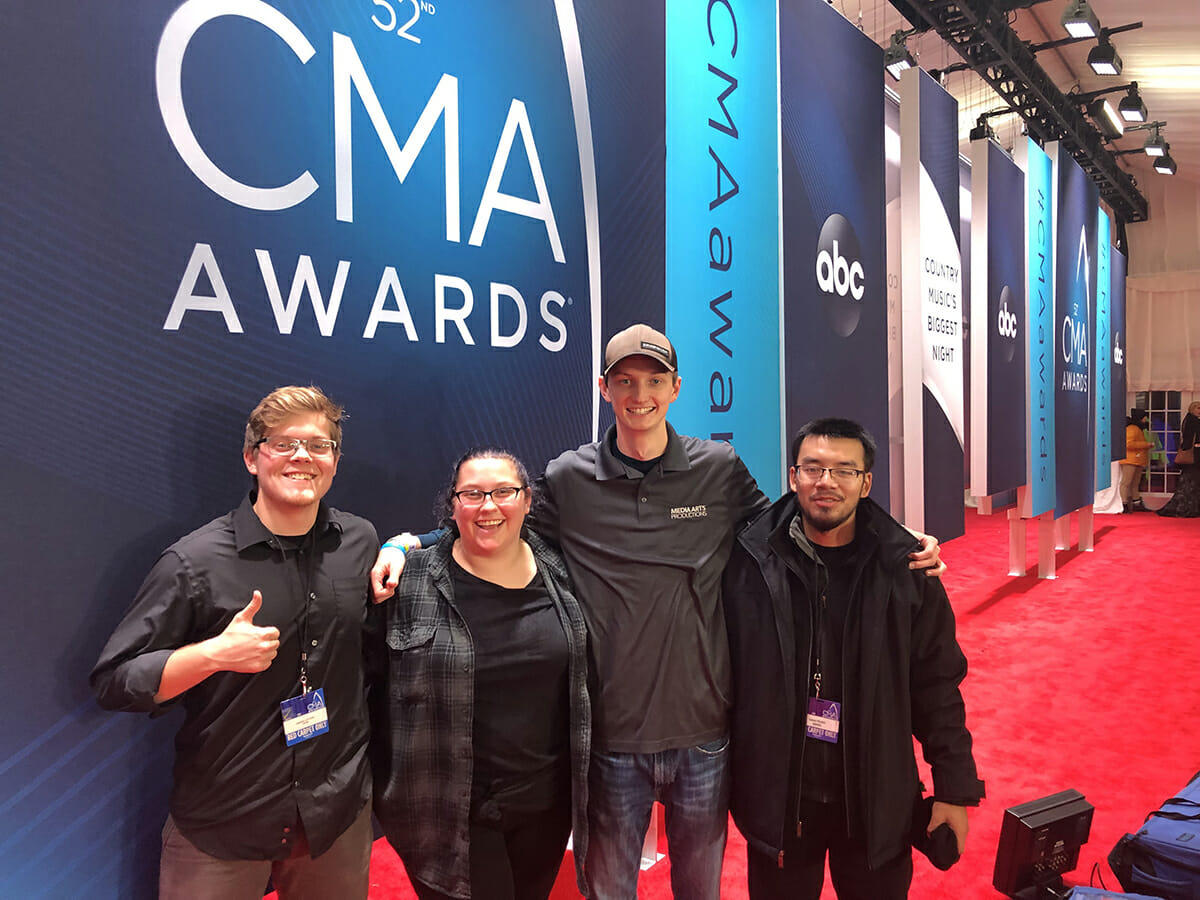 Four of 11 MTSU students who gained behind-the-scenes knowledge at the recent CMA Awards.