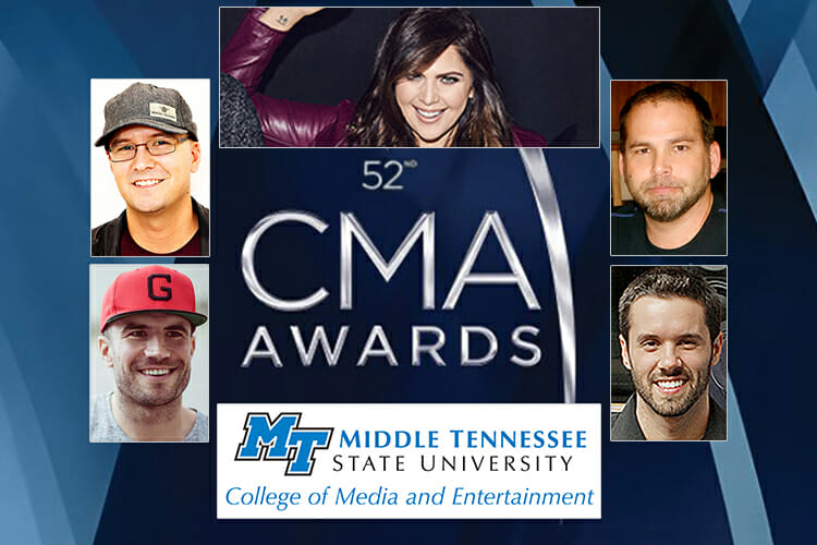 2018 CMA nominees from MTSU, clockwise from upper left: songwriter/producer Luke Laird, Lady Antebellum member Hillary Scott, producer Michael Knox, engineer Jeff Braun and singer-songwriter Sam Hunt.