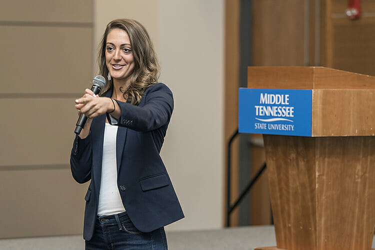 Guest speaker Jena Viviano, a Nashville-based career strategist, makes a point Nov. 15 in the MTSU Student Union Ballroom during Global Entrepreneurship Week activities hosted by the Jones College of Business. (MTSU photo by Andy Heidt)