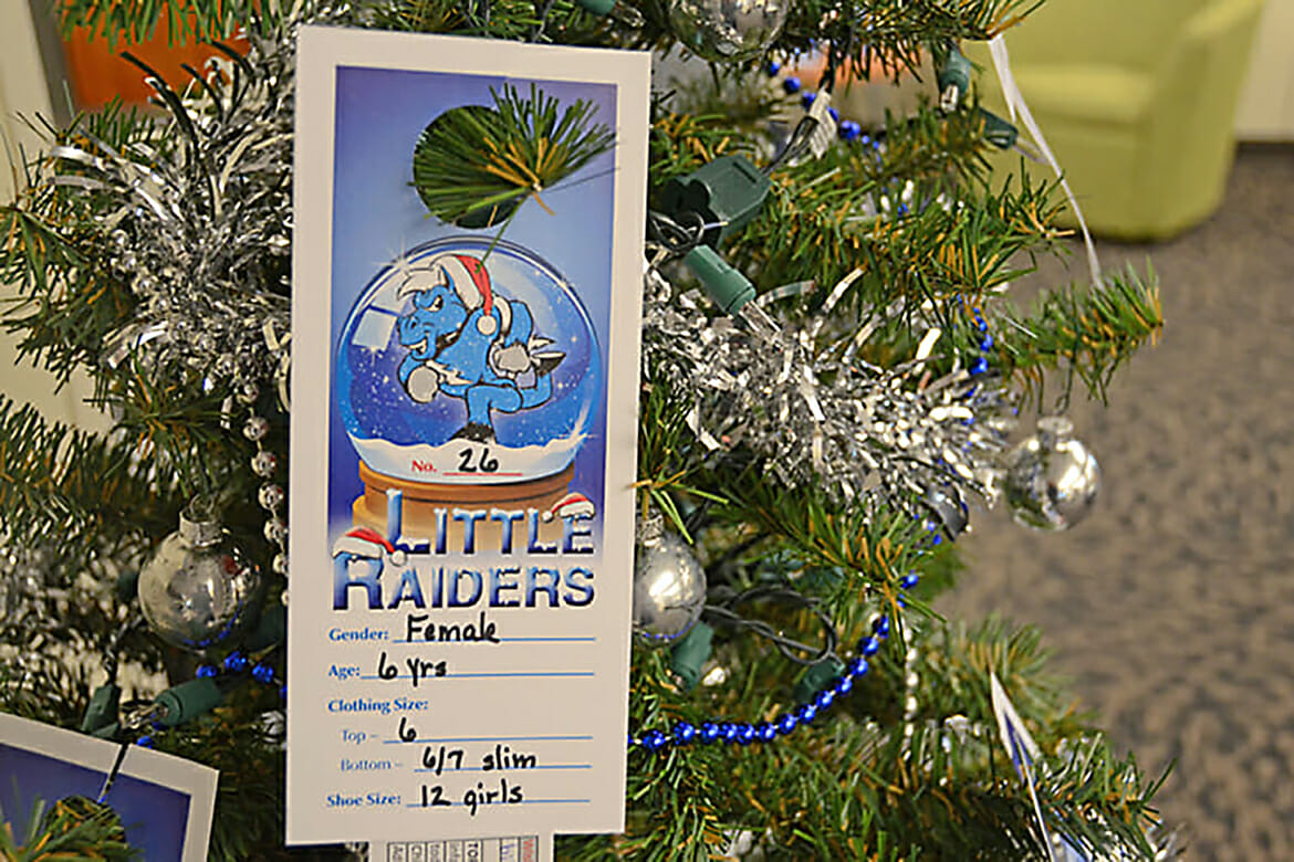 """This Little Raiders ornament is among those hanging on three trees across campus supporting the """"Little Raiders"""" gift-giving campaign. Secret Santas can pick an ornament to """"adopt"""" a local child's Christmas wish list. (MTSU file photo by Jimmy Hart)"""