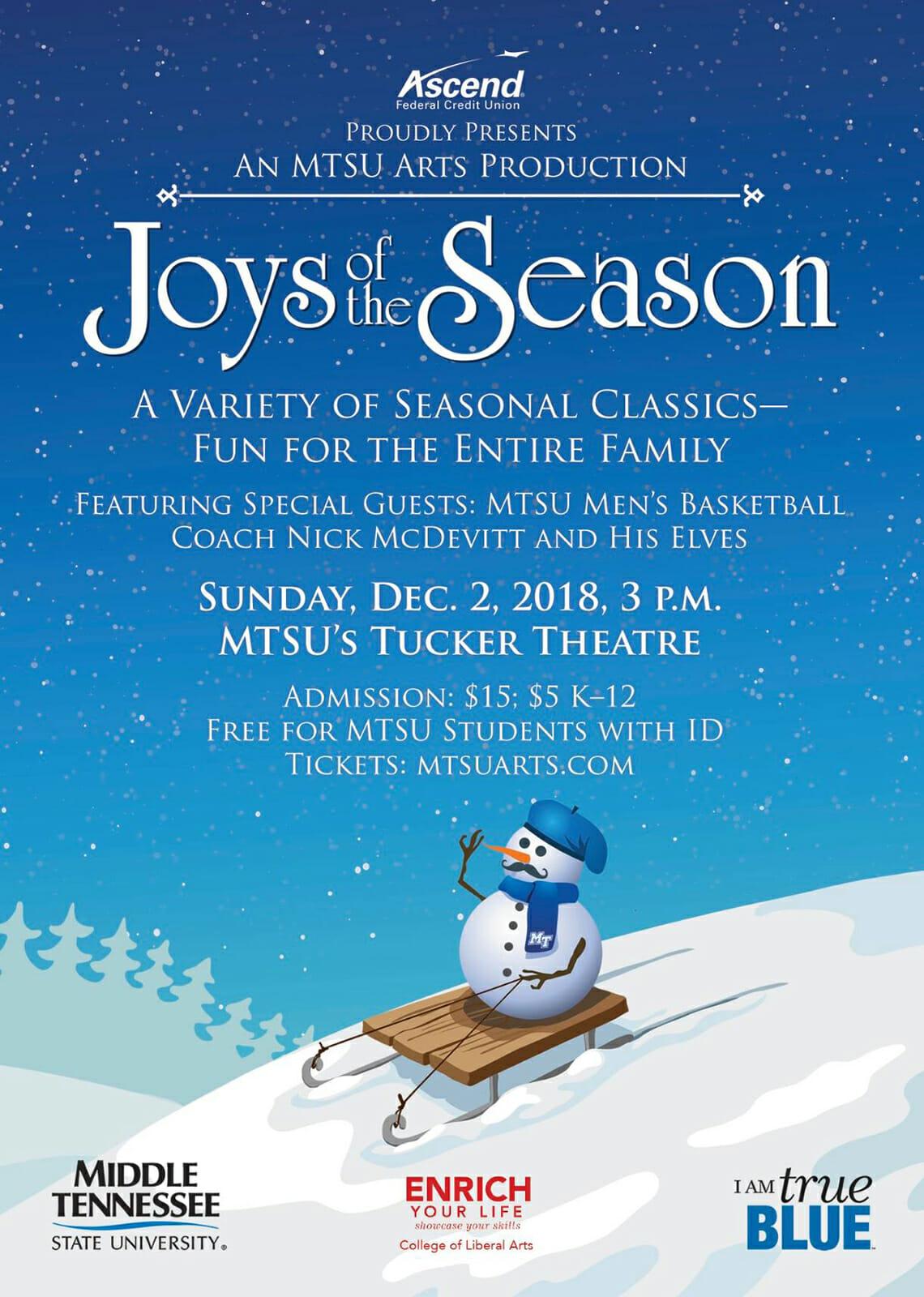 "MTSU ""Joys of the Season"" 2018 poster"