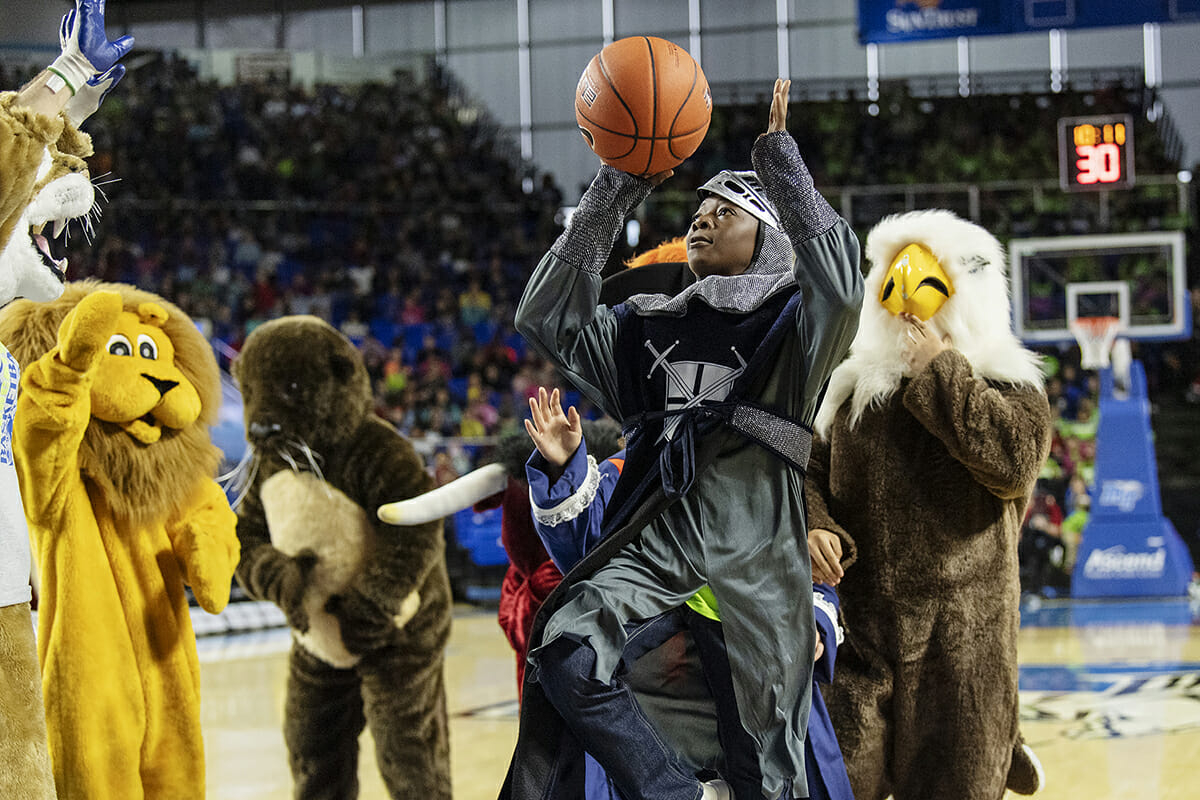 Murfreesboro City Schools' mascots play a pick-up game during halftime.