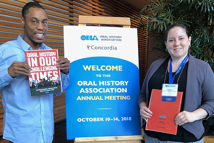 Jordan Alexander, left, a doctoral student in MTSU's Public History Program, and Faith Bagley, Oral History Association program associate and graduate of the MTSU Public History Program (Master of Arts, 2017), are shown at Concordia University in Montreal, Quebec, in mid-October during the OHA annual meeting. (Submitted photo)