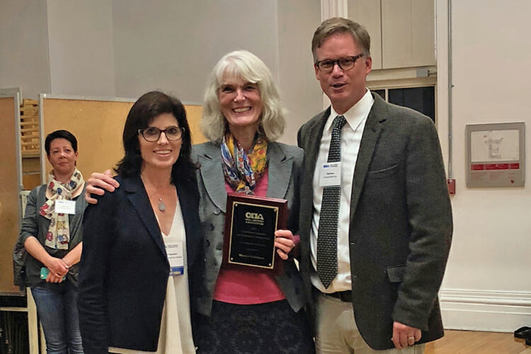 MTSU history professor Martha Norkunas, center, received the Post-Secondary Teaching Award during the Oral History Association annual meeting in mid-October at Concordia University, Montreal, Quebec. Pictured with her are Oral History Association President Todd Moye, right, and incoming OHA President Natalie Fousekis. (Submitted photo)