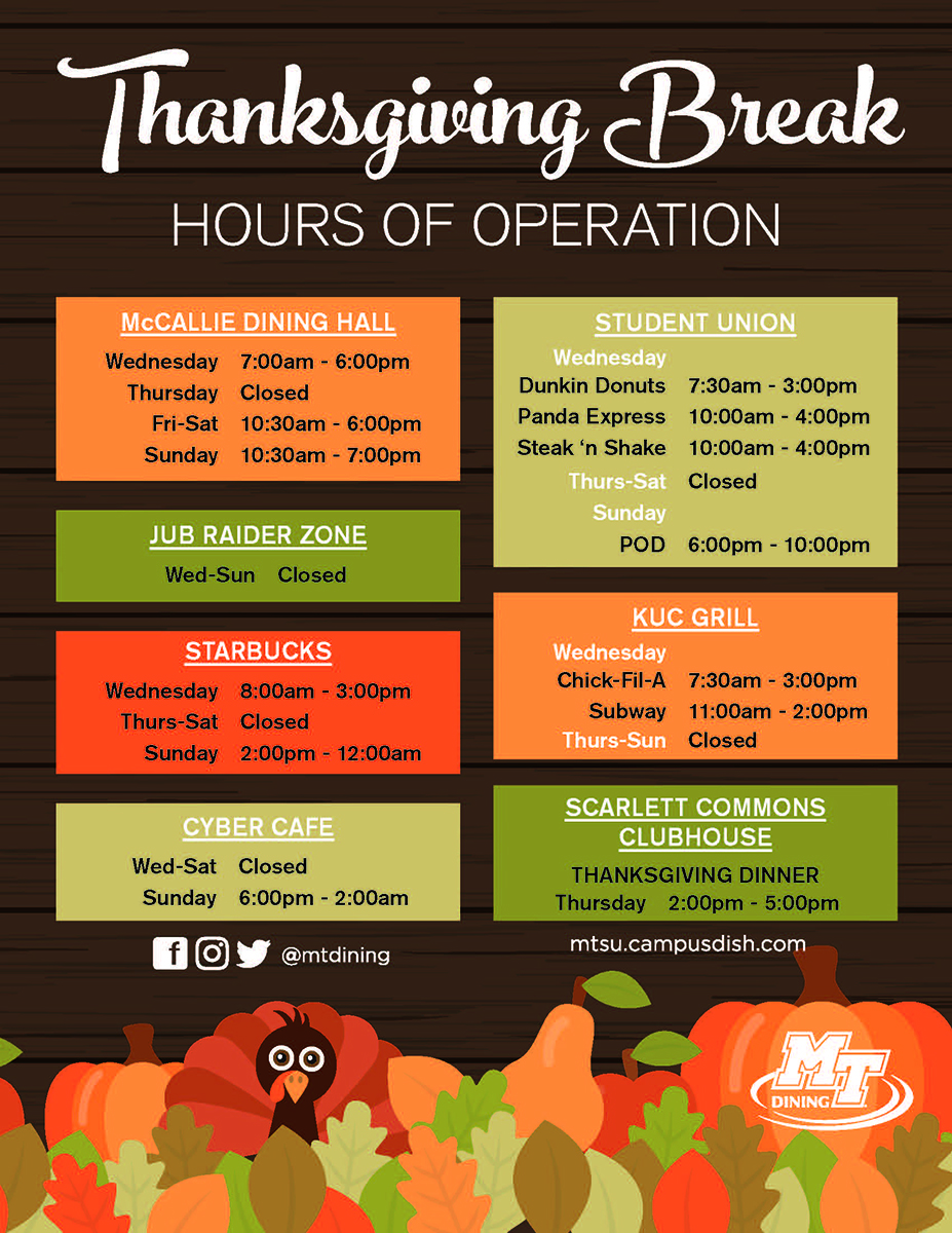 MT Dining holiday hours