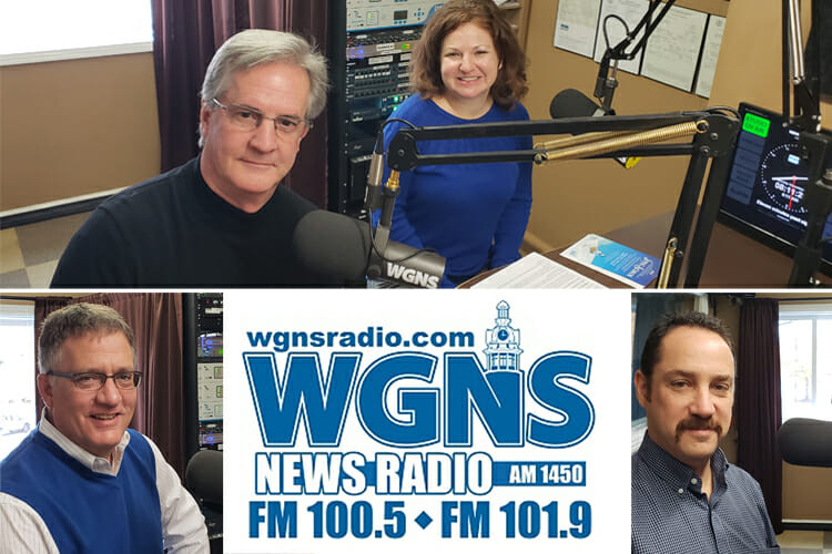 "MTSU faculty and staff are shown at the Nov. 19 live broadcast of the WGNS Radio ""Action Line"" program with host Bart Walker. Pictured are, at top from left, Dr. H. Stephen Smith, voice professor and Colleg of Liberal Arts associal dean, and Meredith Kerr, development director for the College of arts; bottom left, University Provost Mark Byrnes; and bottom right, Greg Reish, director of the Center for Popular Music at MTSU. (MTSU photo illustration by Jimmy Hart)"