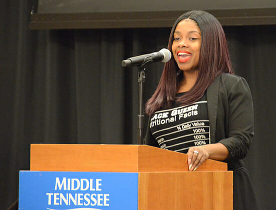 Graduating senior Amber Boyd, an integrated studies major, reflects on her time at MTSU during the 2018 Intercultural Graduation Reception held Nov. 19 inside the Student Union Ballroom. (MTSU photo by Jimmy Hart)