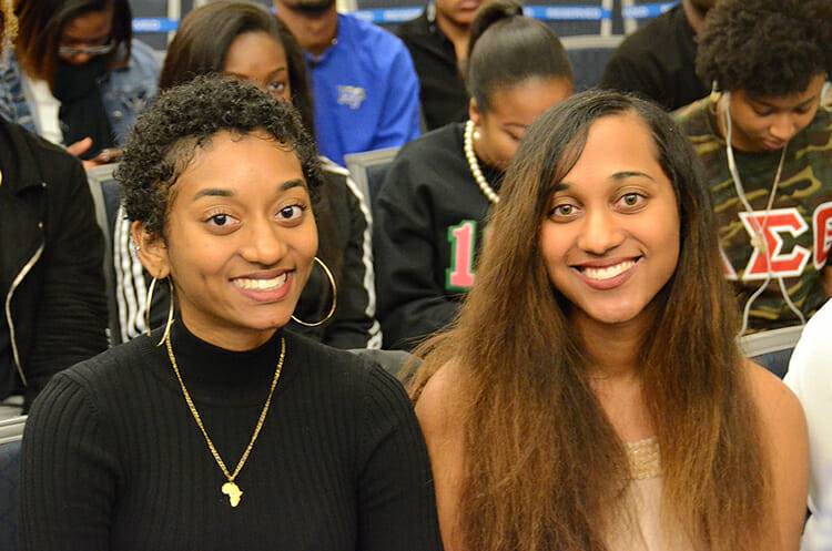Graduating senior Malikka Datta, left, an Africana studies major, is shown with sister and fellow senior Malina Datta, a political science and public administration major, at the 2018 Intercultural Graduation Reception held Nov. 19 inside the Student Union Ballroom. (MTSU photo by Jimmy Hart)