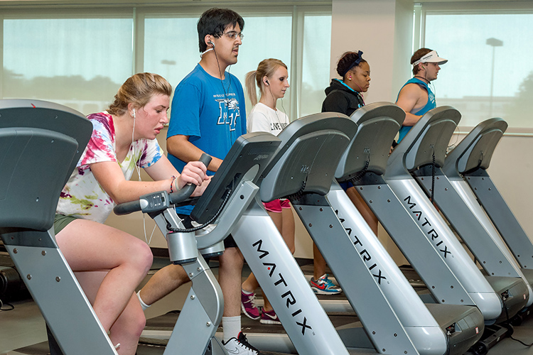 Students work the exercise machines at the Campus Recreation Center at MTSU. (MTSU file photo by J. Intintoli)