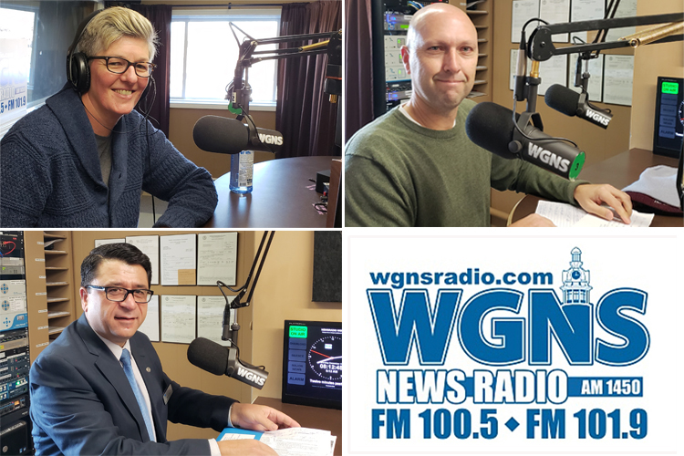 "Pictured are MTSU guests at the Dec. 17 WGNS Radio ""Action Line"" program with host Bart Walker. Pictured at WGNS' downtown Murfreesboro studio are, bottom left, Dr. Murat Arik, director, MTSU Business and Economic Research Center; top left, Val Hoeppner, executive director of WMOT-FM Roots Radio 89.5; and, top right, Dr. Greg Rushton, director, Tennessee STEM Education Center at MTSU. (MTSU photo illustration by Jimmy Hart)"