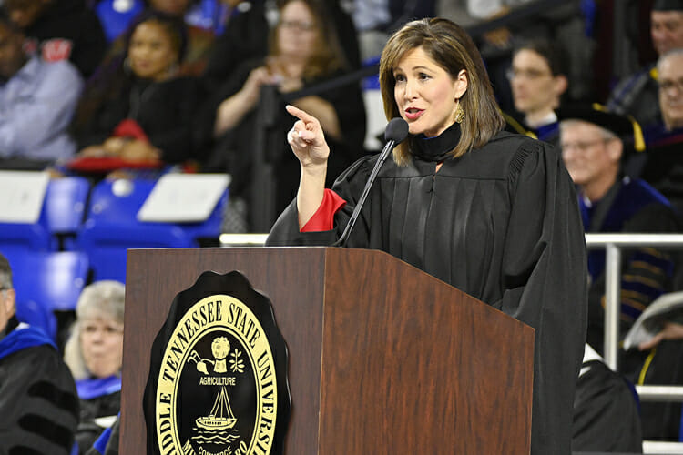 MTSU alumna Holly Thompson, a WSMV-Channel 4 news anchor, emphasizes one of her remarks Saturday, Dec. 15, during her address to graduating students at MTSU's fall 2018 afternoon commencement ceremony in Murphy Center. MTSU presented 1,731 degrees to students in dual ceremonies, including 1,471 undergraduates and 260 graduate students in the celebrations. (MTSU photo by Andy Heidt)