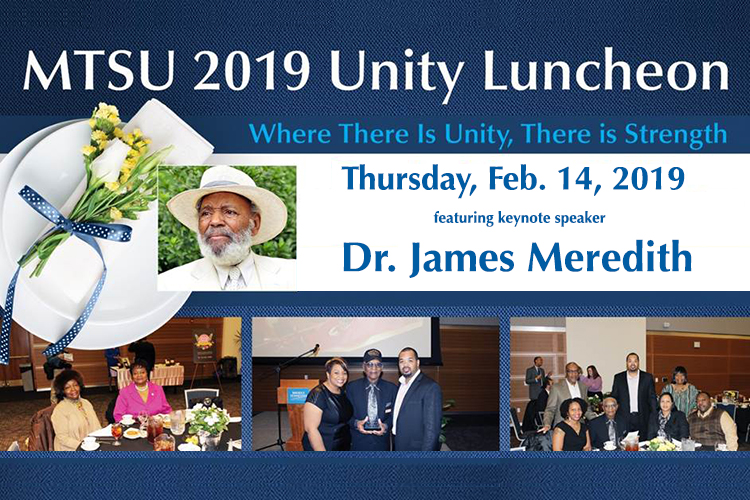 2019 Unity Luncheon web promo with photo of guest speaker Dr. James Meredith