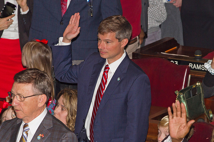 Charles Baum, an economics and finance professor in the Jennings A. Jones College of Business, is sworn in Tuesday, Jan. 8, at the state Capitol in Nashville, Tenn., as a Republican state representative for Murfreesboro's 37th District in the House of Representatives. (MTSU photo by James Cessna)