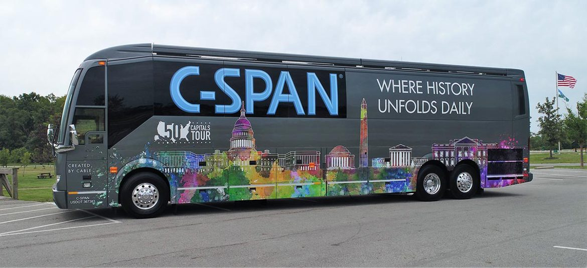 The 45-foot customized C-SPAN Bus is shown in this publicity photo. Staffers made its interactive exhibits and high-tech facilities available at MTSU Wednesday, Jan. 16. (Photo submitted)