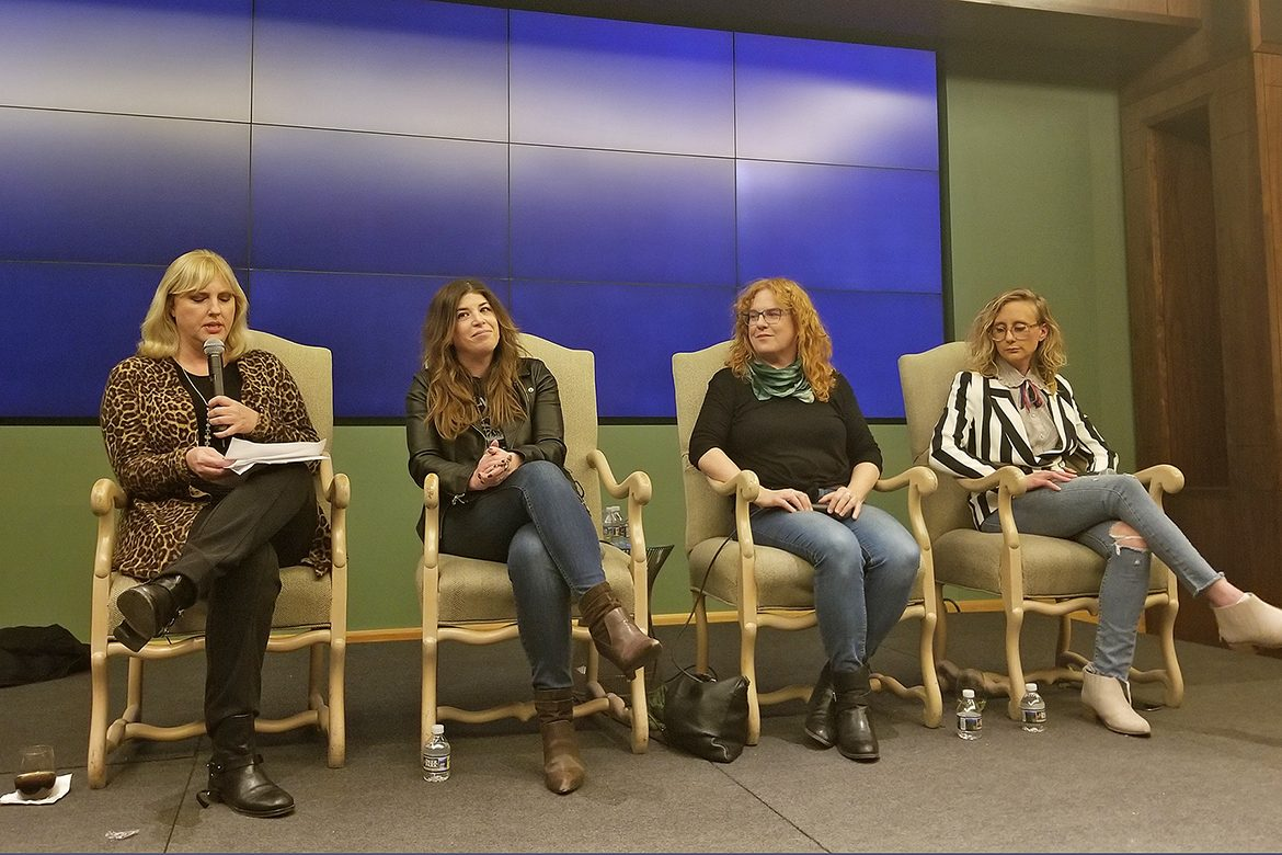 From left, Change the Conversation co-founder and MTSU recording industry chair Beverly Keel moderates a panel featuring Marissa Moss, Ann Powers and Jewly Hight on Tuesday, Jan. 22, at BMI in Nashville, Tenn. (Photo courtesy of Change the Conversation)