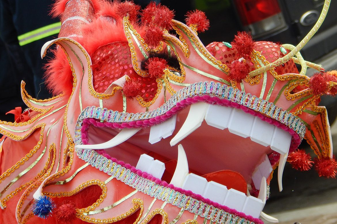 Photo of a traditional red dragon at the Washington, D.C., Chinese New Year parade via Pixabay