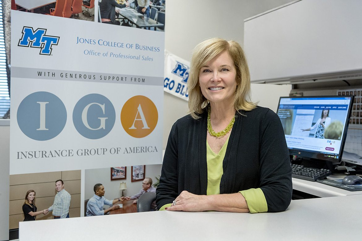Jones College of Business marketing instructor Laura Buckner, director of the IGA Office of Professional Selling and coordinator of Marketing Internship Program, is shown at the office inside the Business and Aerospace Building. (MTSU photo by J. Intintoli)