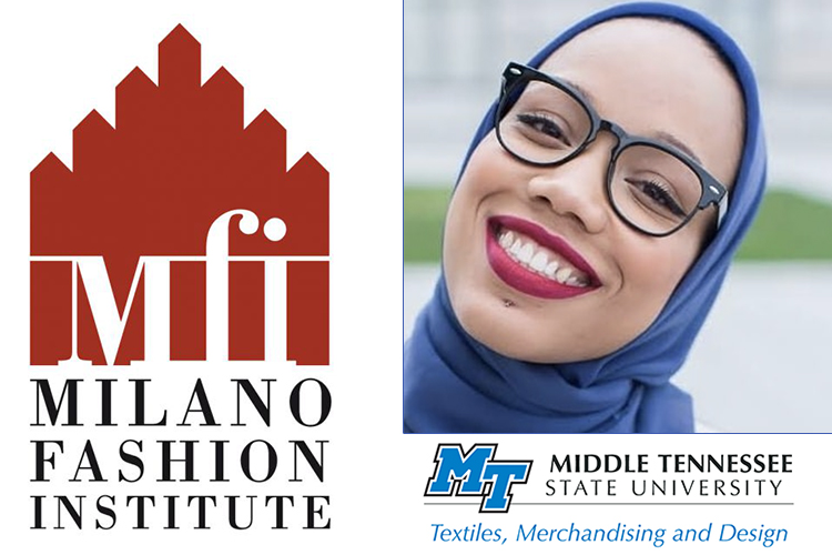 promo of MTSU design alumna and Project Runway runner-up Ayana Ife and the logos of the Milano Fashion Institute, where she's working on her graduate degree, and MTSU's Textiles, Merchandising and Design Program