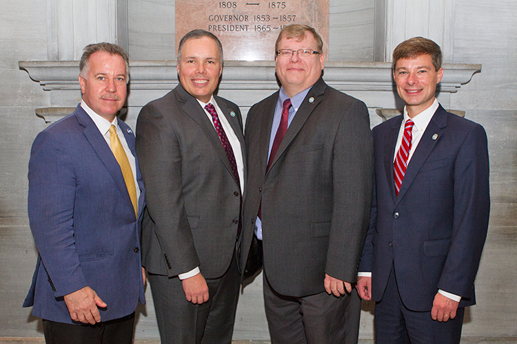 Four members of the Rutherford County state legislative delegation are shown Tuesday following the swearing in ceremony at the state Capitol in Nashville, Tenn., for the 111th Tennessee General Assembly. Pictured, from left, are returning state Reps. Mike Sparks, an MTSU alumnus, Bryan Terry and Tim Rudd, and new state Sen. Charlie Baum, an MTSU economics and finance professor. (MTSU photo by James Cessna)