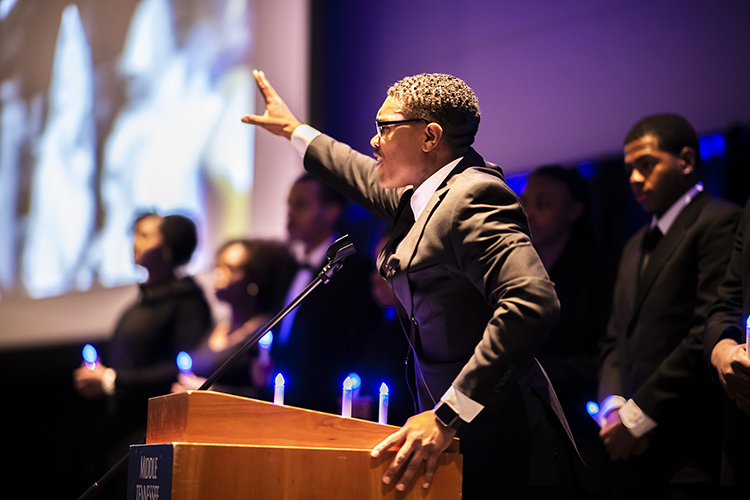 "Motivational speaker Anthony Burton recites portions of the ""I Have a Dream"" speech at MTSU's 2019 MLK Candlelight Vigil held Monday night inside the Student Union Ballroom. (MTSU photo by Eric Sutton)"
