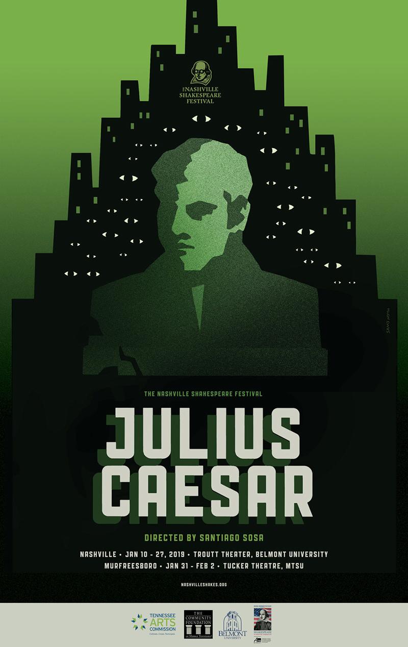 """Nashville Shakespeare Festival """"Julius Caesar"""" poster"""