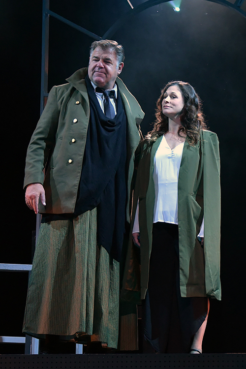 """Broadway veteran and Middle Tennessee native Chuck Wagner, left, portrays the charismatic Roman dictator and Angela Madelaine-Johnson is Caesar's wife, Calpurnia, in the Nashville Shakespeare Festival's winter 2019 production of """"Julius Caesar."""" The tragedy is being presented Thursday-Saturday, Jan. 31-Feb. 2, at MTSU's Tucker Theatre in the Boutwell Dramatic Arts Auditorium; ticket information is available at http://nashvilleshakes.org. (Nashville Shakespeare Festival photo by Rick Malkin)"""