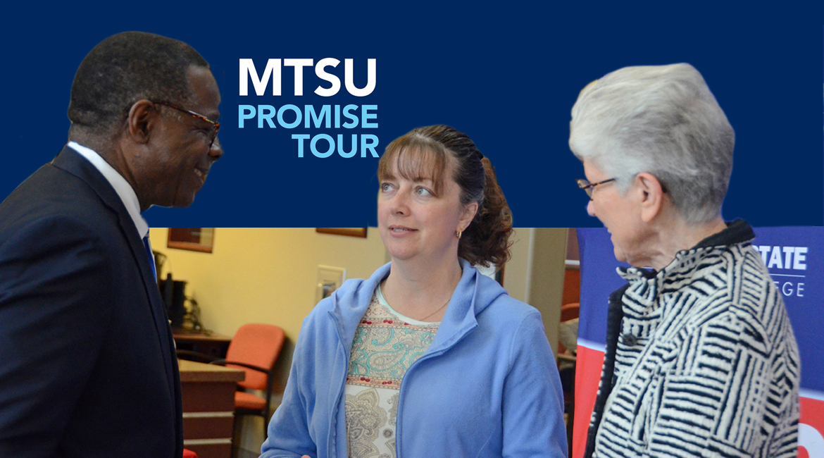 MTSU President Sidney A. McPhee, left, and Dyersburg State President Karen A. Bowyer listen as Christie Badger of Tiptonville, Tenn., shares about her educational experience at Dyersburg Nov. 7 during at MTSU visit to the DSCC campus. Badger is studying accounting and is considering transferring to MTSU after her anticipated May 2020 graduation with an associate degree from Dyersburg State. (MTSU photo by Randy Weiler)
