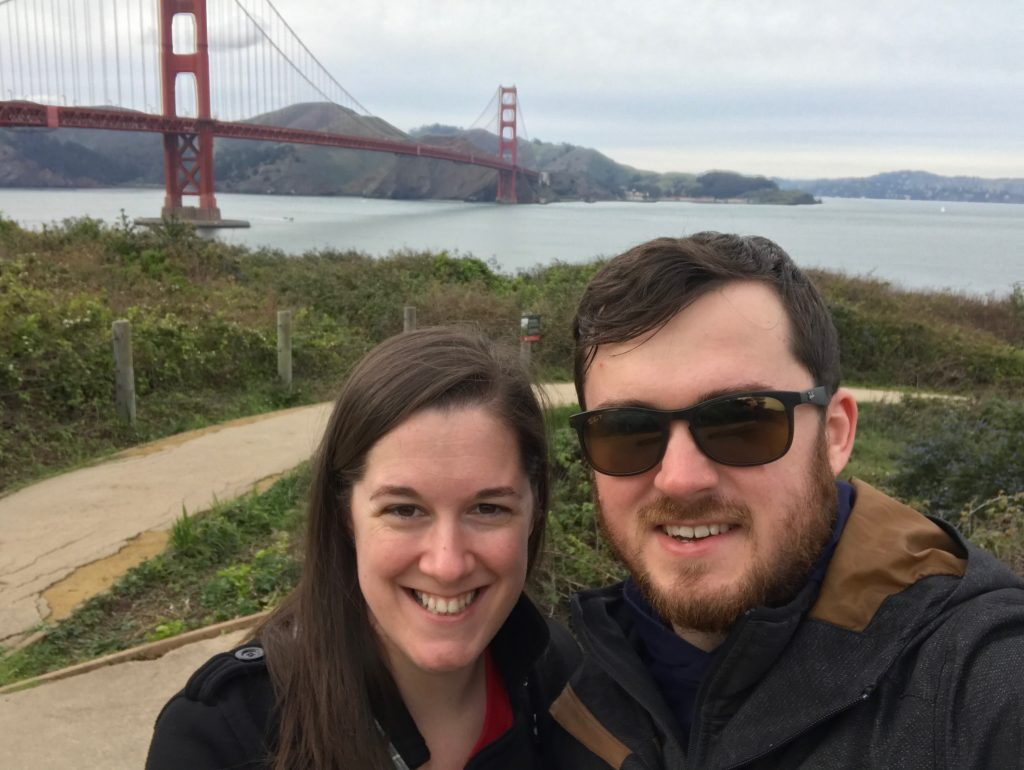 Blake Merryman ('13) standing next to his fiance, Samantha, in front of the Golden Gate Bridge in San Francisco, CA.
