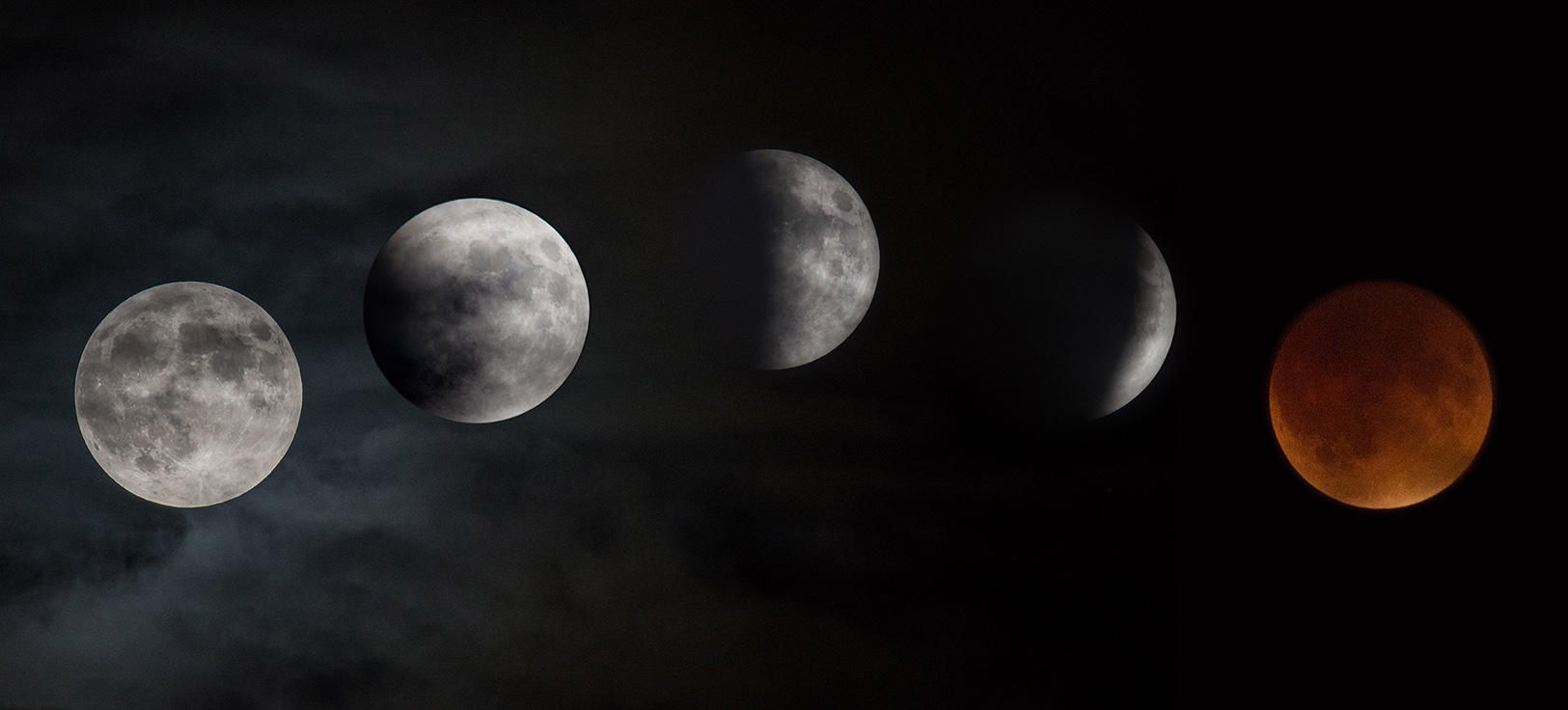The supermoon lunar eclipse captured as it moved over NASA's Glenn Research Center on Sept. 27, 2015. Another total lunar eclipse will happen Sunday, Jan. 20. (Photo by Rami Daud/NASA)