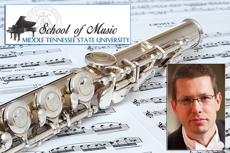 2019 Flute Festival promo featuring the MTSU School of Music logo and guest flutist Érik Gratton of the Nashville Symphony