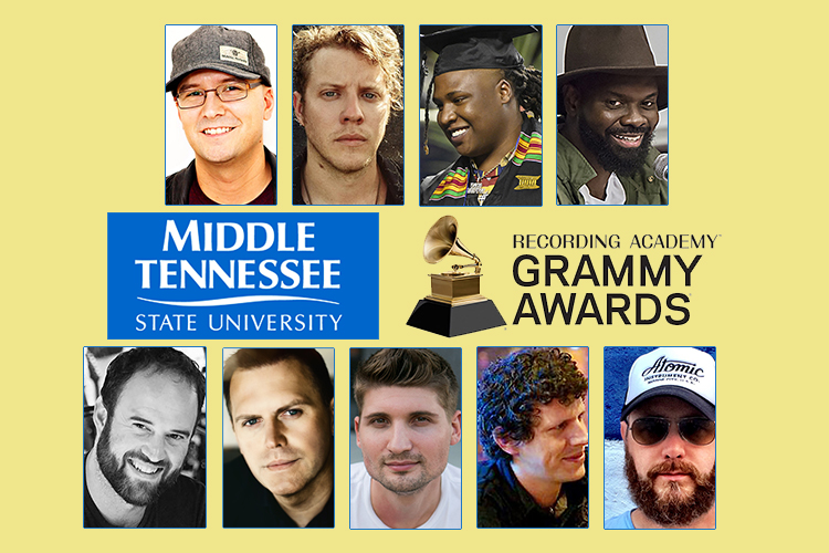 "MTSU alumni are still celebrating their recognition at the 61st Annual Grammy Awards Feb. 10 for pop, rap, Americana, gospel and country projects. Shown on the top row, from left, are newly minted Grammy winner Luke Laird and fellow alumni and nominees Michael ""Anderson East"" Anderson, BryTavious ""Tay Keith"" Chambers and Torrance ""Street Symphony"" Esmond. On the bottom row are alumni nominees Jason A. Hall, Wayne Haun, Jimmy Mansfield, Daniel Rowland and F. Reid Shippen."