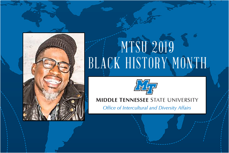 photo of Grammy Award-nominated keynote speaker David Banner with the Office of Intercultural and Diversity Affairs logo and the 2019 Black History Month text superimposed over the 2019 BHM poster background