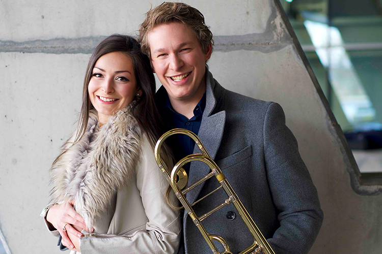 """Duo Steiner-Hochwartner,"" featuring internationally acclaimed musicians Constanze Hochwartner, left, on piano and Peter Steiner on trombone, will visit MTSU's School of Music Tuesday, Feb. 12, for a free public concert in Hinton Hall inside the Wright Music Building. (Photo submitted)"