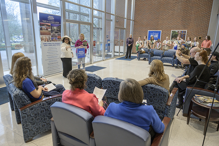 MTSU first lady Elizabeth McPhee, top left, welcomes a group of local Girl Scouts to campus Tuesday inside the Cope Administration Building. The scouts met with various MTSU faculty and staff during a daylong career mentoring project hosted by McPhee. (MTSU photo by Andy Heidt)