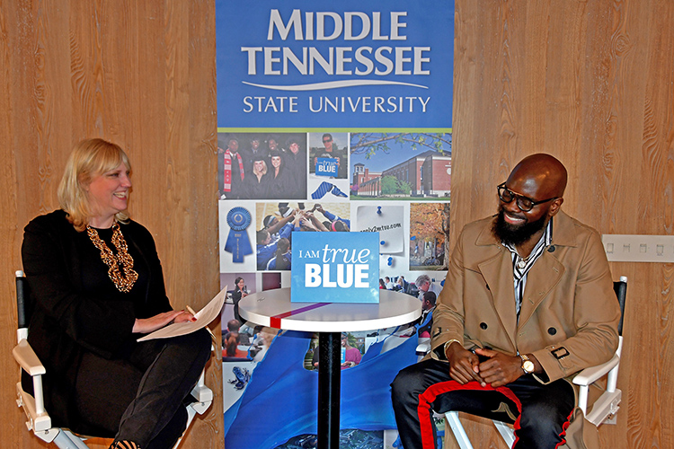 "Beverly Keel, left, chair of MTSU's Department of Recording Industry, interviews Grammy winner Torrance ""Street Symphony"" Esmond, who was honored Saturday, Feb. 9, by Middle Tennessee State University as part of its events before the Grammy Awards. (MTSU photo by Andrew Oppmann)"