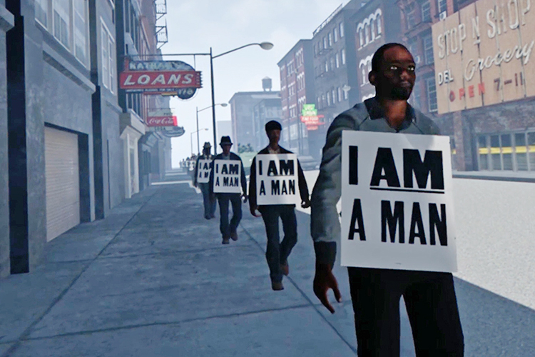 "Protesters march down a Memphis street during the 1968 Memphis Sanitation Strike in this scene from the ""I Am A Man"" VR experience trailer, available for viewing in MTSU's James E. Walker Library Makerspace through Friday, March 1. (Image courtesy of IAMaManVR.com)"