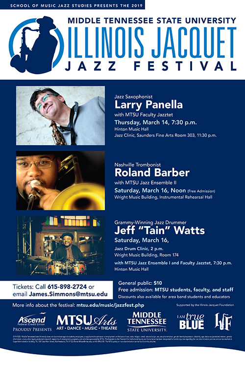 "2019 MTSU Jacquet Jazz Festival poster featuring saxophonist Larry Panella, trombonist Roland Barber and drummer Jeff ""Tain"" Watts"