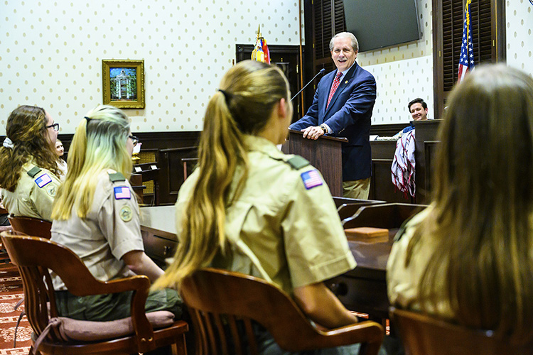 Rutherford Mayor Bill Ketron, an Eagle Scout and member of Scouting's Middle Tennessee Council executive board, congratulated the new girl members of Scouts BSA. (MTSU photo by Eric Sutton)