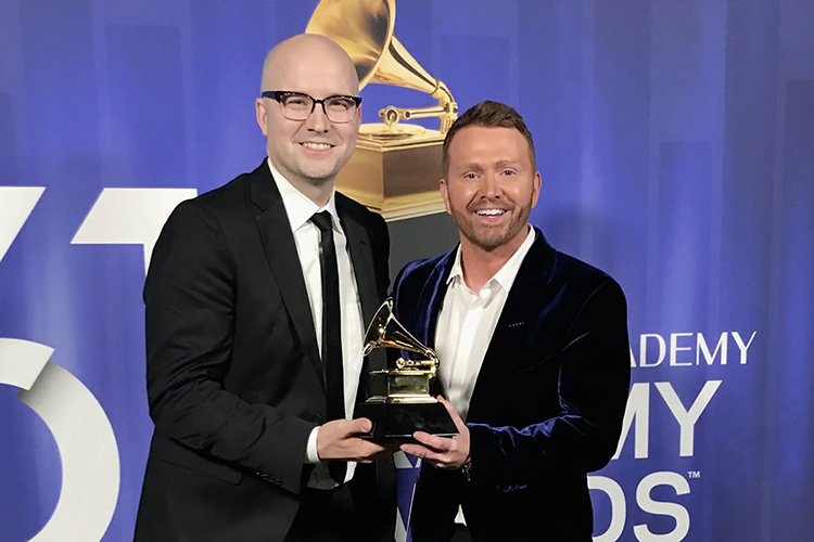 "MTSU recording industry alumnus Luke Laird, left, celebrates his second Grammy win connected with country superstar Kacey Musgraves Sunday night, Feb. 11, at the Staples Center in Los Angeles as he accepts the best country song Grammy for ""Space Cowboy"" with co-writer Shane McAnally. Musgraves also was a co-writer on the song, part of her multi-Grammy-winning album ""Golden Hour."" Laird, a 2001 MTSU graduate, earned his first Grammy in 2013 for co-producing Musgraves' debut CD, ""Same Trailer Different Park,"" and has been nominated for three previous songwriting Grammys as well as for producing Musgraves' second album, ""Pageant Material."" (Photo courtesy of the 61st Annual Grammy Awards)"