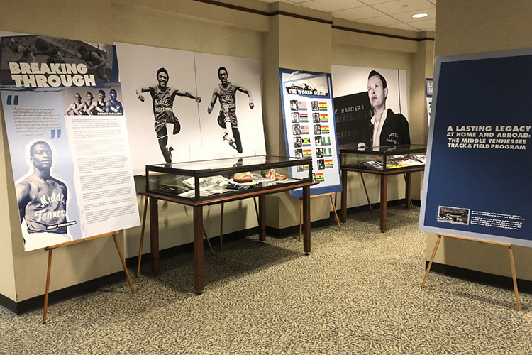 The new MT Athletics exhibit on the first floor of MTSU's James E. Walker Library focuses on internationally renowned coach Dean Hayes and the team's stellar history over its 5-plus decades. The exhibit, which will run through April 14, is the first in a partnership between the library, MTSU Athletics, the Blue Raider Hall of Fame and the Albert Gore Research Center. (Photo courtesy of the Blue Raider Hall of Fame)