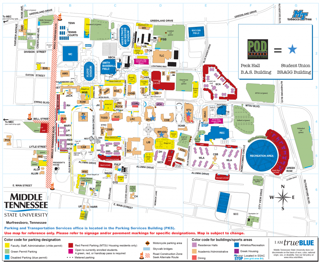 Map of MTSU Campus with blue stars placed where Campus PODs are located