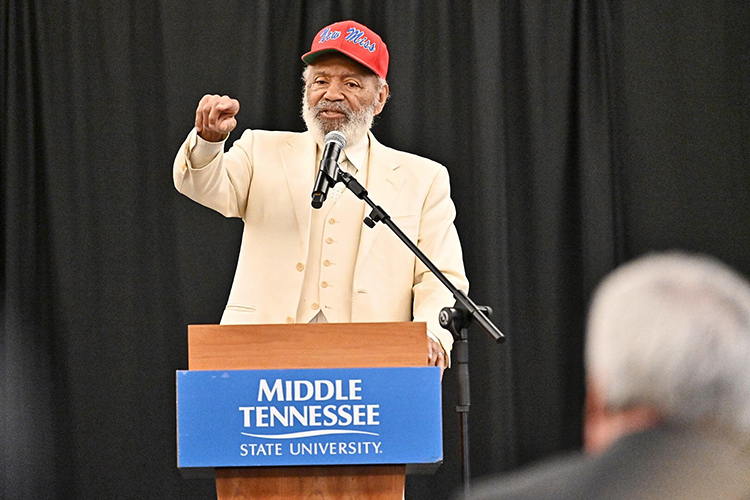 James Meredith, the first person to break the color barrier at the University of Mississippi in 1962, makes a point during his keynote address at the 23rd annual Unity Luncheon held Feb. 14 in the Student Union Ballroom. (MTSU photo by J. Intintoli)