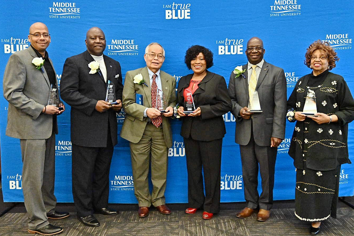 The honorees at the 23rd annual Unity Luncheon at MTSU are, from left, Jimmy Hart, director, MTSU Office of News and Media Relations, unsung staff award; Rickey Field, excellence in sports; Chantho Sourinho, advocate for civility; Martha Bigsby, community service; Frank Michello, education; and Carolyn Sneed Lester, contribution to black arts. (MTSU photo by J. Intintoli)