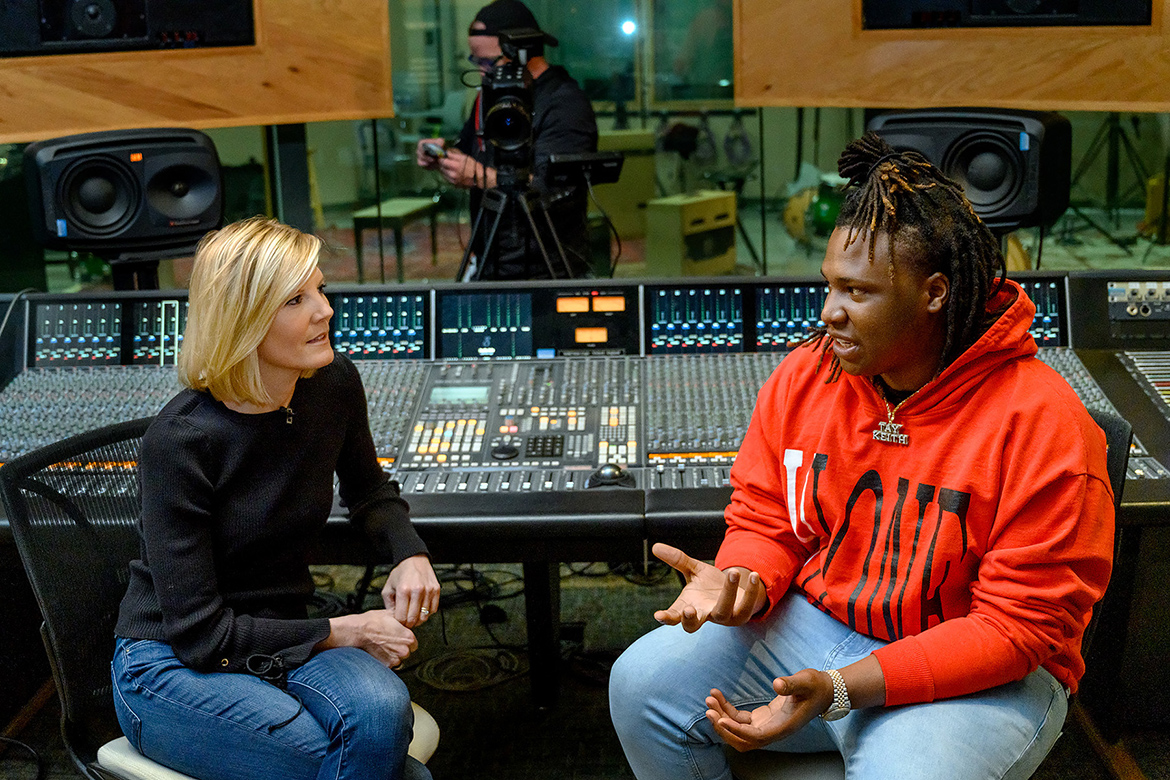"Journalist Kate Snow, anchor of NBC Nightly News Sunday and senior national correspondent, interviews MTSU alumnus and rising music producer BryTavious ""Tay Keith"" Chambers inside a recording studio at the Bragg Media and Entertainment Building in late January. The segment about MTSU's Department of Recording Industry, its successful alumni and annual Grammy Awards outreach will air Sunday, Feb. 10, before the Grammys telecast on CBS. (MTSU photo by J. Intintoli)"